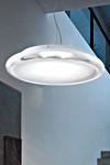 Pod suspension disque verre de Murano incolore et dépoli blanc 43cm. Vistosi.