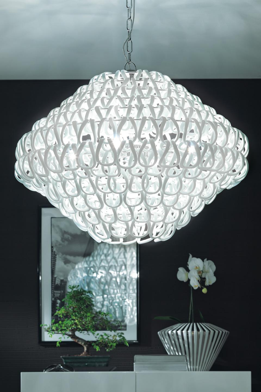 suspension giogali sp 80 ronde maille de cristal blanc r f 13110007. Black Bedroom Furniture Sets. Home Design Ideas
