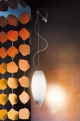 Baco wall lamp in Murano glass hanging on bracket. Vistosi.