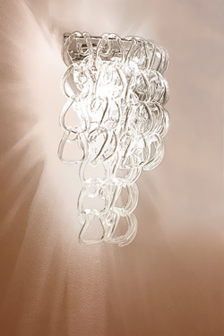 Giogali AP NV wall lamp in clear glass links. Vistosi.