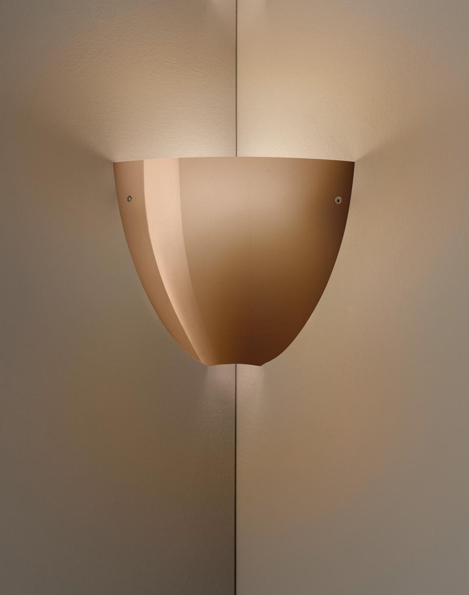 Glossy brown Murano blown glass wall lamp Corner. Vistosi.