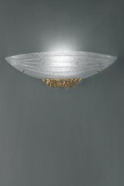Murano glass wall sconce with 24 carat gold  flakes Torcello. Vistosi.