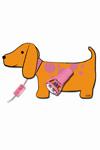 Emma applique petit chien orange et rose en bois découpé. Waldi Leuchten.