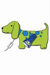 Fifi applique petit chien vert et bleu. Waldi Leuchten.