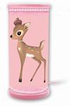 Lampe de chevet motif Bambi rose. Waldi Leuchten.