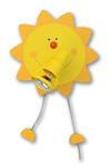 Soleil applique 1 lumière en bois laqué jaune. Waldi Leuchten.
