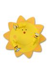 Soleil plafonnier jaune en bois découpé. Waldi Leuchten.