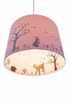 Suspension cylindrique rose avec des silhouettes les animaux de la forêt . Waldi Leuchten.