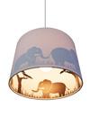 Suspension grise avec des silhouettes d'éléphants en ombres chinoises. Waldi Leuchten.