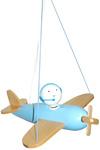Suspension Planeur en bois bleu et naturel Piccolo. Waldi Leuchten.