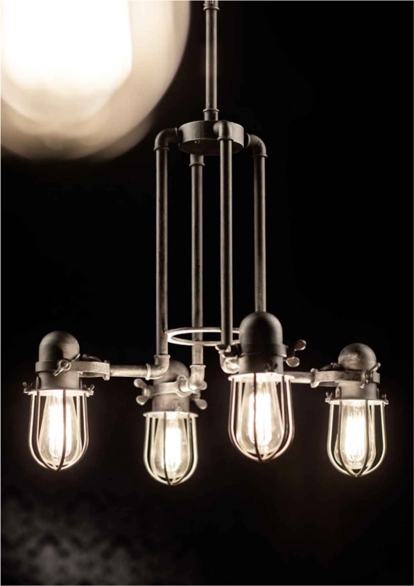 Suspension industrielle Robers 4 lampes
