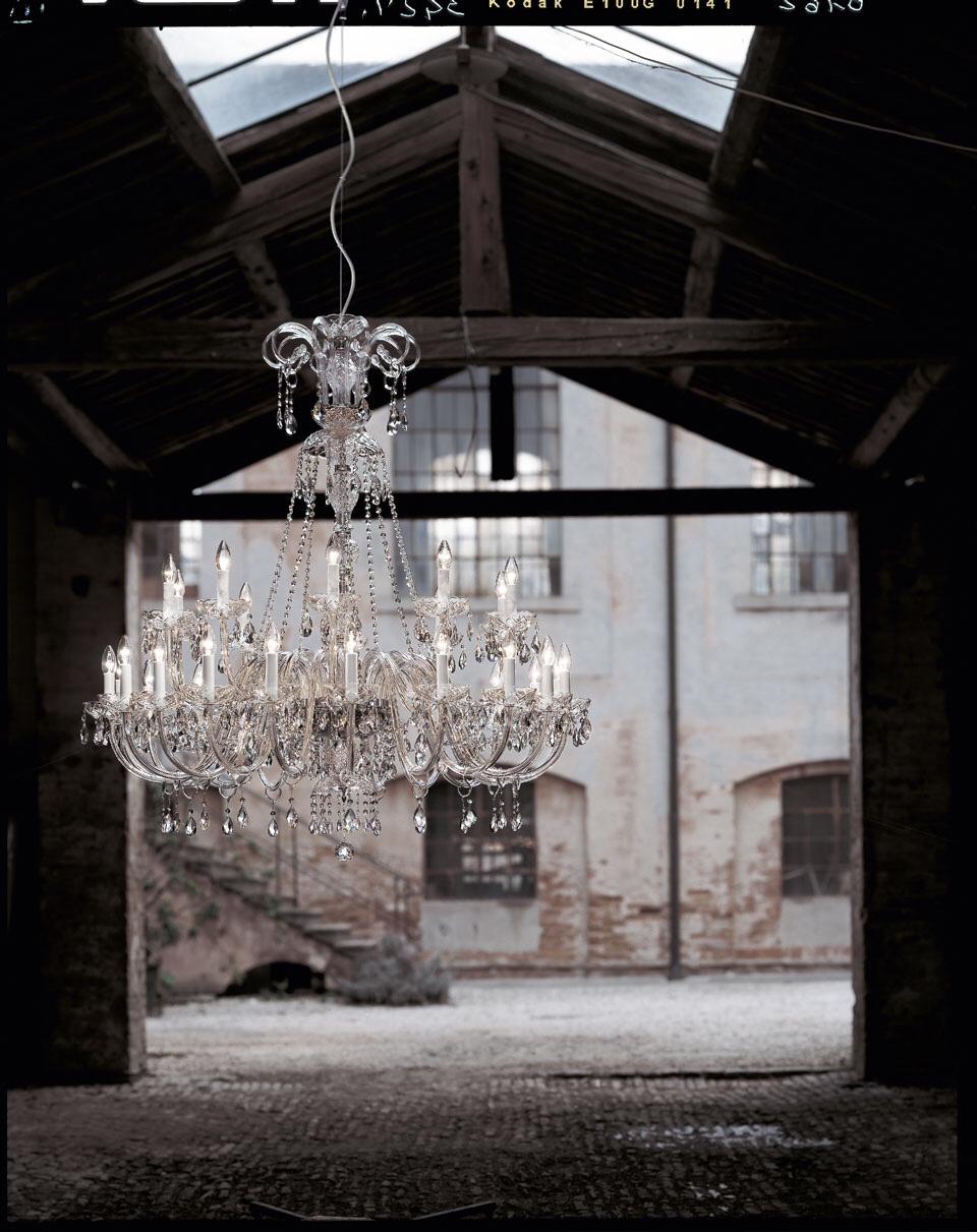 Lustre 30 lumières à étages, structure chromée - Italamp